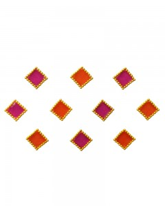 Comet Busters Orange Pink Square Bindi
