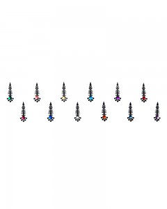 Comet Busters Traditional Black Bindi With Multicolor Crystal