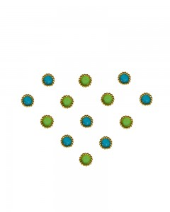 Comet Busters Traditional Small Round Green Blue Bindi