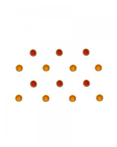 Comet Busters Traditional Small Round Red Yellow Bindi