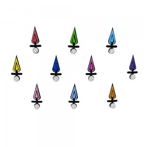 Comet Busters Black Bindis with Colorful Tear Drops and Stone (BIN1108)