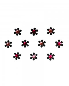 Comet Busters Collection Black Bindi With Pink Stone