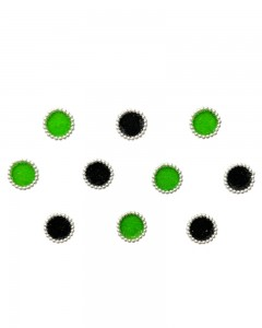 Comet Busters Black Green Square Bindi