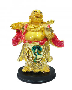 Comet Busters Glowing Laughing Buddha with Coin & Money Bag  for Health, Wealth & Prosperity