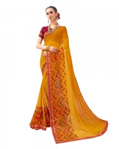 Comet Busters Georgette Blend Printed Yellow Saree with Border