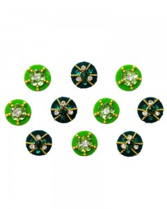 Comet Busters Beautiful Traditional Black Green Bindi