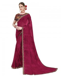 Comet Busters Printed Georgette Magenta Saree with Border
