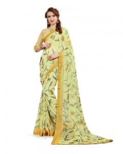 Comet Busters Beautiful Printed Light Yellow Georgette Saree