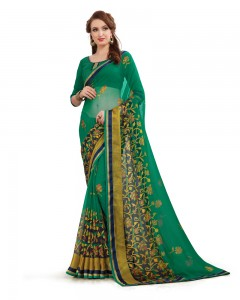 Comet Busters Beautiful Printed Dark Green Georgette Saree