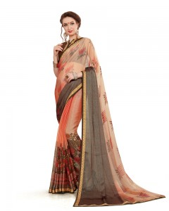 Comet Busters Beautiful Printed Light Brown Georgette Saree