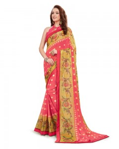 Comet Busters Beautiful Printed Pink Georgette Saree