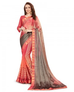 Comet Busters Beautiful Printed Pink Georgette Saree With Border