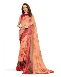 Comet Busters Beautiful Printed Light Orange Saree With Border