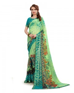 Comet Busters Beautiful Printed Green Saree With Border