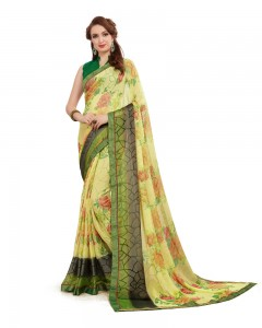 Comet Busters Beautiful Printed Light Green Saree With Border