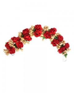 Comet Busters Artificial Veni Red Rose Gajra for Women and Girls