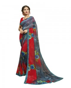Comet Busters Women's Grey and Red Printed Georgette Saree With Border