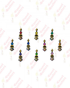 Comet Busters Multicolor Bindis With Golden Work
