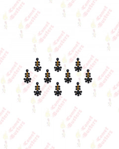 Comet Busters Beautiful Black Bindis With Golden Beads