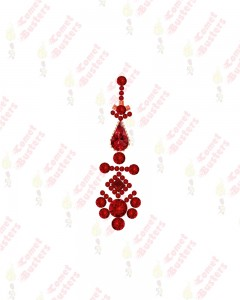 Comet Busters Premium Long Red Bridal Bindi Studded with Red Stones