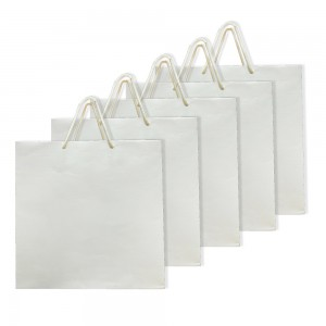 Comet Busters White Self Design Eco Friendly Multipurpose Paper Bags (Size - 12 x 12 x 3 inches) (Pack of 5)