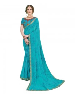 Comet Busters Printed Georgette Blue Saree with Border