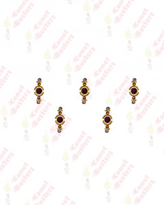 Comet Busters Maroon Stone Bindis With Golden Work