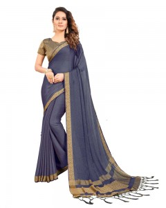 Comet Busters Self Design Dark Grey Georgette Saree