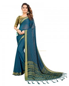 Comet Busters Self Design Blue Georgette Saree