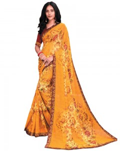 Comet Busters Yellow Printed Georgette Saree With Border