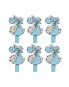 Comet Busters 6 Pieces Blue Baby Knot Swing Baby Shower Wooden Clips Photo Clips