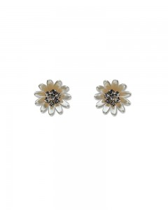 Comet Busters Cute White Flower Earrings Studs With Stone Diamonds For Girls