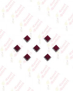 Comet Busters Fancy Maroon Square Bindi With Silver Stones