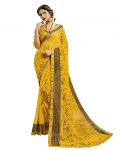 Comet Busters Women's Yellow Printed Georgette Saree With Border