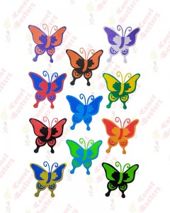 Comet Busters Multicolored Butterfly Multipurpose Stickers