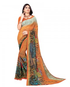 Comet Busters Orange Printed Georgette Sari With Border