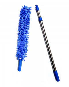 Comet Busters Multipurpose Microfiber Cleaning Duster with Extendable Telescopic Wall Hanging Handle (Blue)