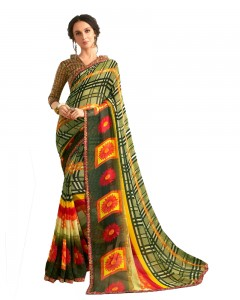 Comet Busters Olive Green Printed Saree With Blouse