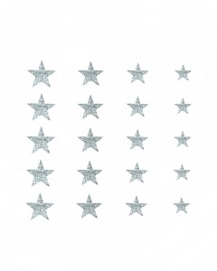 Comet Busters Glitter Star Adhesive Nail Stickers (Silver)