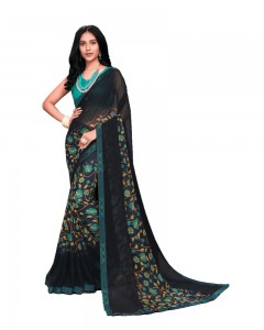 Comet Busters Black Printed Georgette Saree With Border