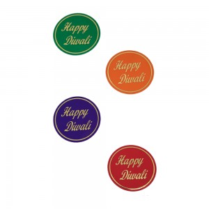 Comet Busters Multicolored Happy Diwali Gift Stickers for Envelopes, Gift Bags, Diwali Decorations (STK006)