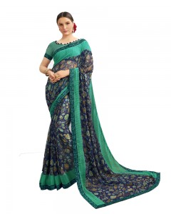 Comet Busters Georgette Blue Saree