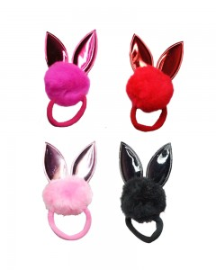 Comet Busters 4Pcs Bunny Ears Fur Ponytail Rubber Bands, Cute Fluffy Ponytail Holders (Random Color)
