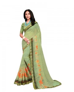 Comet Busters Grey Printed Georgette Saree With Border