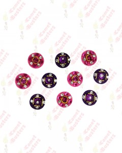 Comet Busters Purple and Hot Pink Round Bindi With Stone Crystals