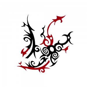 Comet Busters Black and Red Temporary Water Tattoo Sticker (BJ106)
