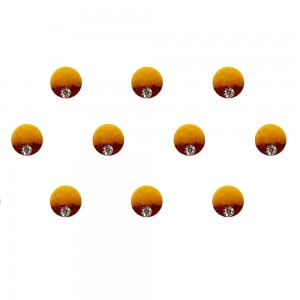 Comet Busters Yellow Brown Shaded Ombre Bindis With Silver Stone (6mm) (BIN1264)