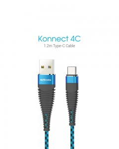 Portronics POR-873 | Konnect 4C Type-C Cable| 3.9 Feet | Black Blue