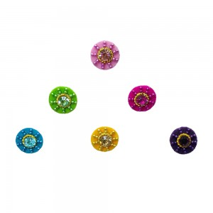 Comet Busters Trendy Colorful Round Bindis With Stone (8mm) (BIN1110)