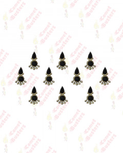 Comet Busters Fancy Black Bindis With Silver Beads